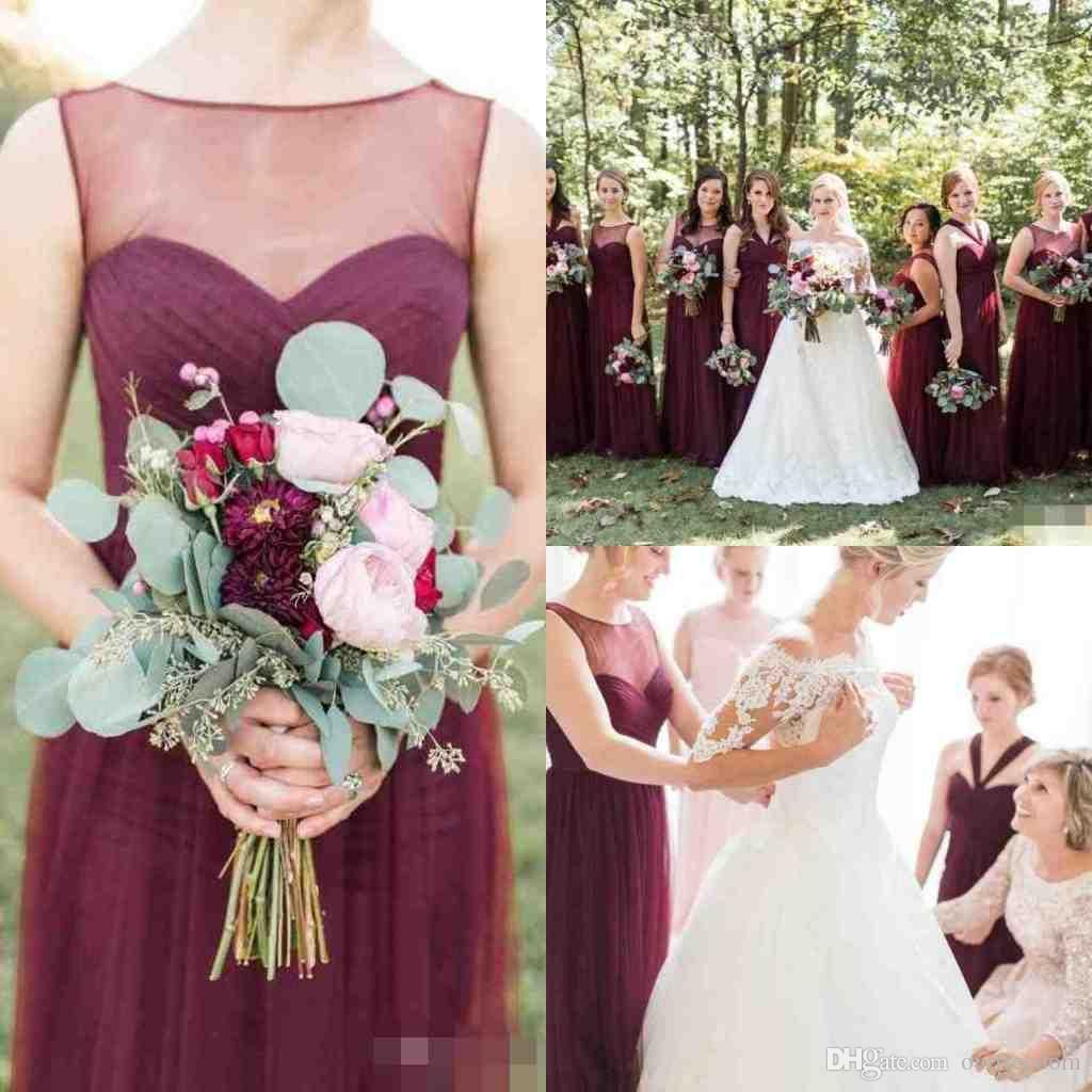 2019 Burgundy Tulle Sheer O Neck Bridesmaid Dresses A Line Floor Length Wedding Guest Gown Country Style Bohemian Formal Evening Dresses Blue Bridesmaid Dress B Wedding Guest Gowns Bridesmaid Dresses Uk