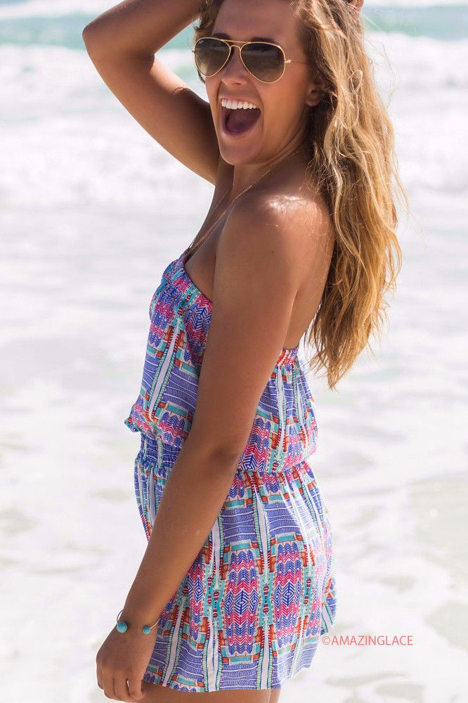 Hanging By A Moment Abstract Pattern Tube Top Romper