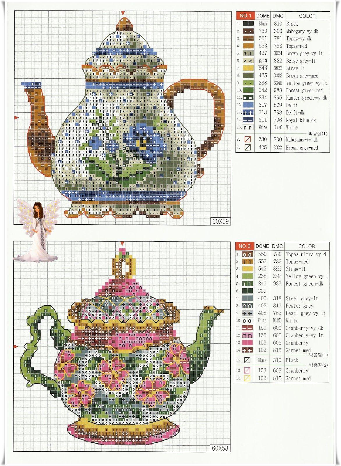 cross-stitch pattern Cross-stitch heaven! plus I love the teapots ...