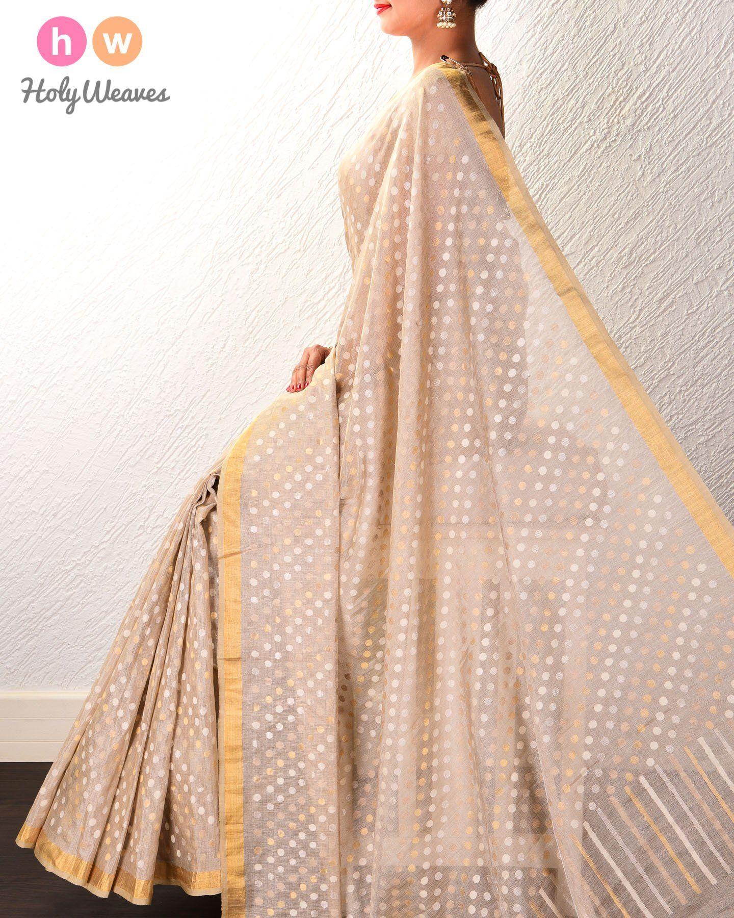 Golden Beige Ghani 35-Sirki Sona Rupa Polka Buti Kadhuan Brocade Handwoven Tasar Muga Tissue Saree  #Saree #Handwoven #Brocade #Kashi #Varanasi #Banaras #India #Sari #Handloom
