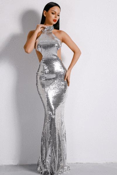 Stainless Elegance Silver Evening Dress - AMEKANA.COM