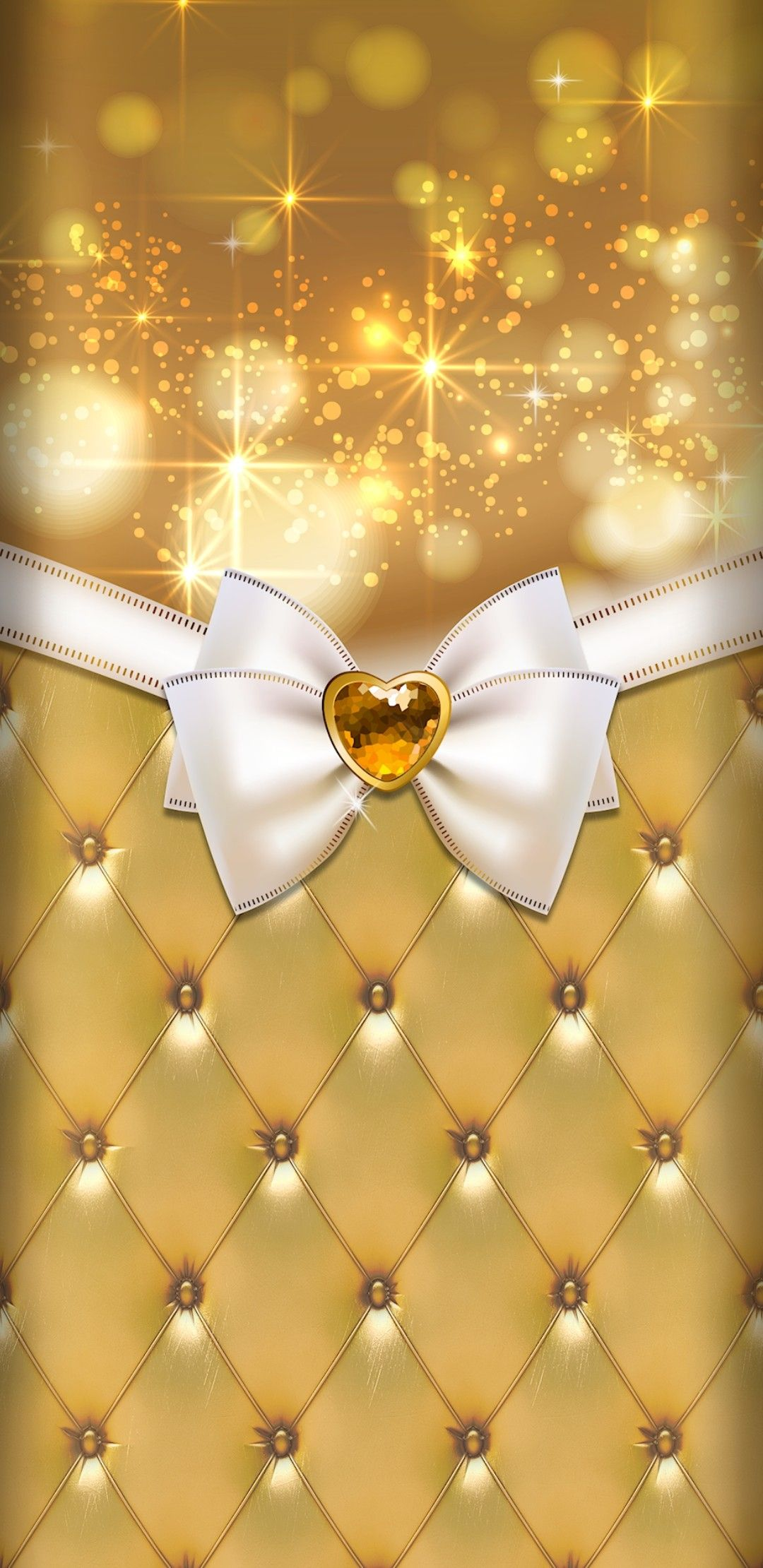 Gold and white ivory cream | Bow wallpaper