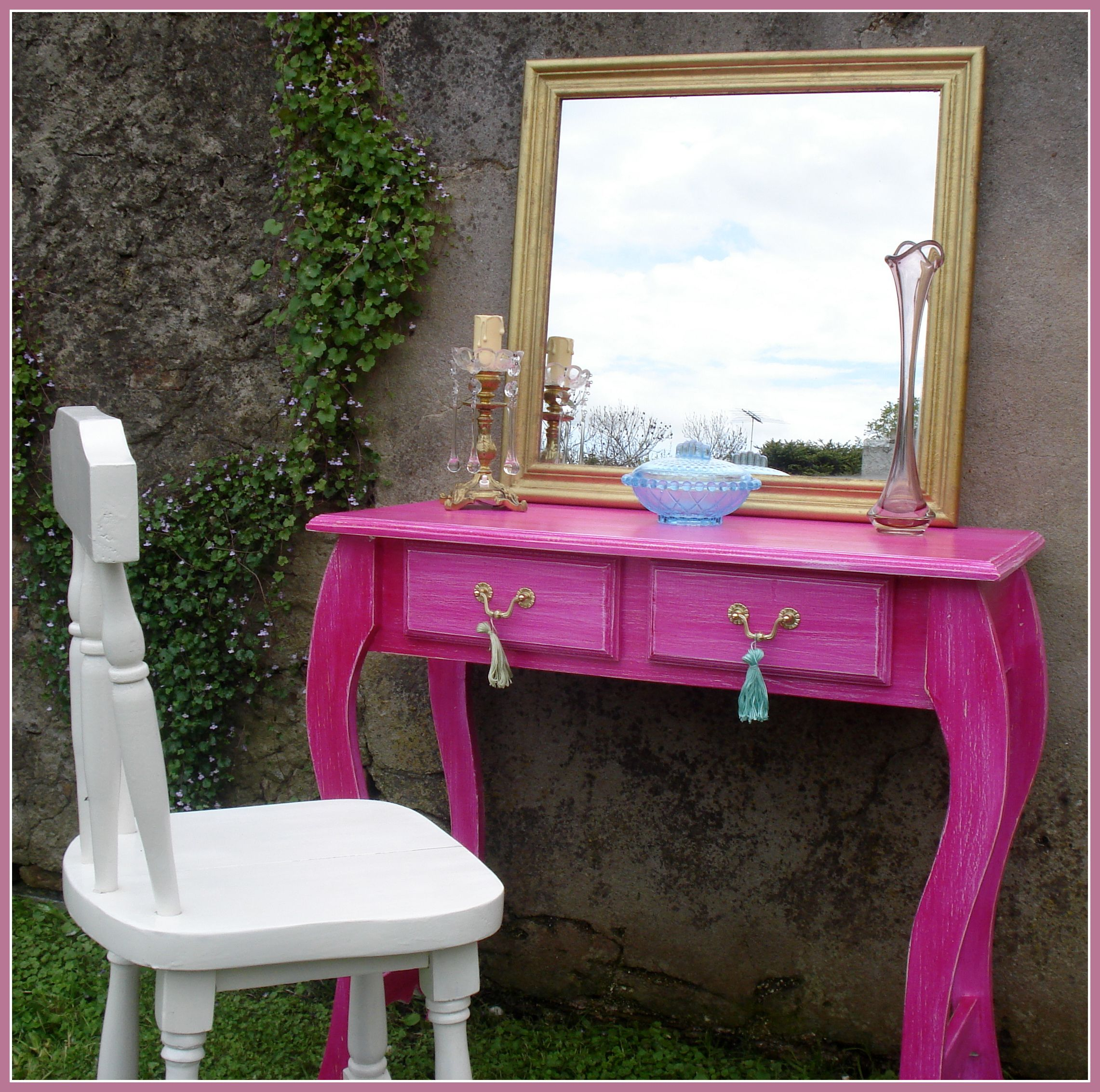 Escritorio Recibidor Mesa Auxiliar Decapado En Fucsia Ideal  # Muebles Color Fucsia