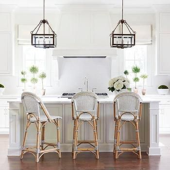 White Kitchen With Black And White French Bistro Counter Stools French Bistro Chairs Bistro Chairs Bistro Stools