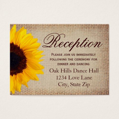 rustic sunflower burlap wedding reception cards