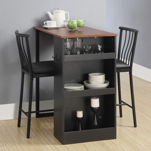 Dining Set Table 3 Pieces Storage Counter Height Kitchen Pub Bar