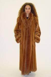 Whiskey Mink Fur Coat with Matching Fox Tuxedo from Marc Kaufman ...