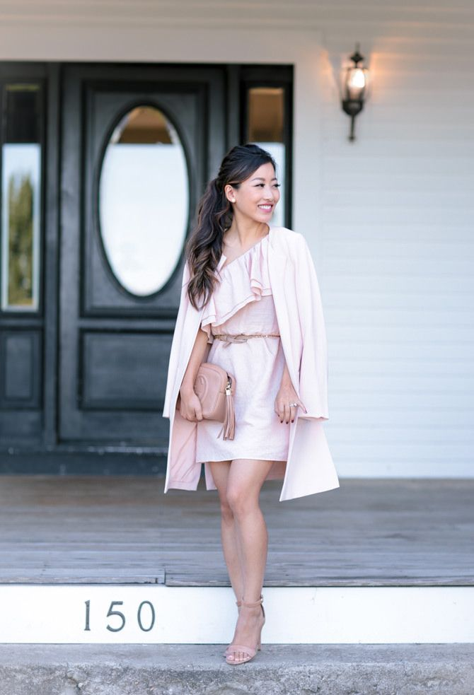 Wedding guest outfit blush pink ruffle dress crepe for Dress and jacket for wedding guest