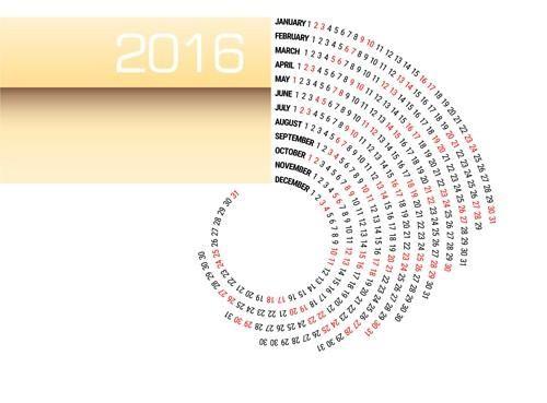 Circular Calendar 2016 abstract vector Graphic design Pinterest - circular calendar