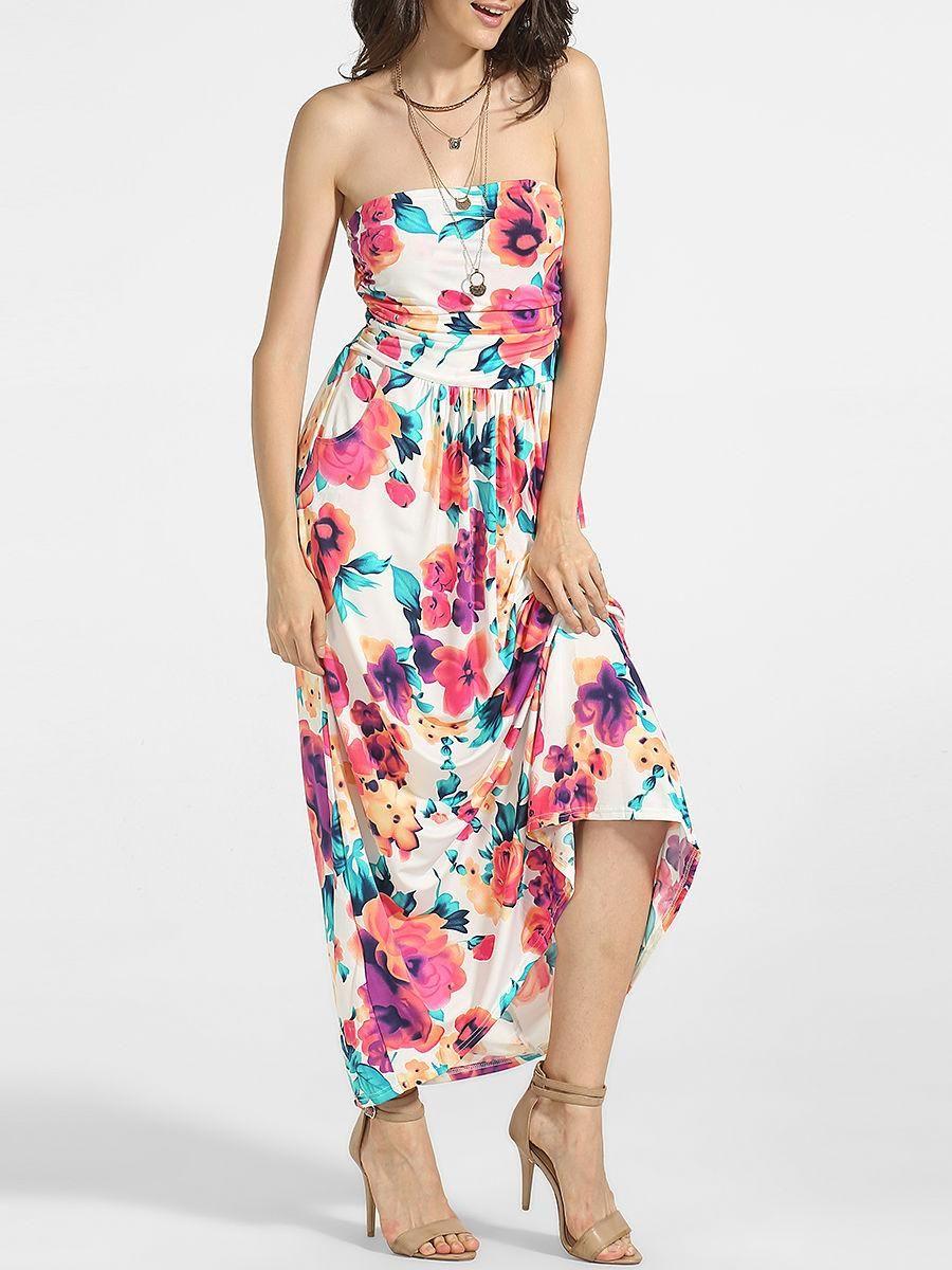 Fashionmia fashionmia tube cotton floral printed maxi dress