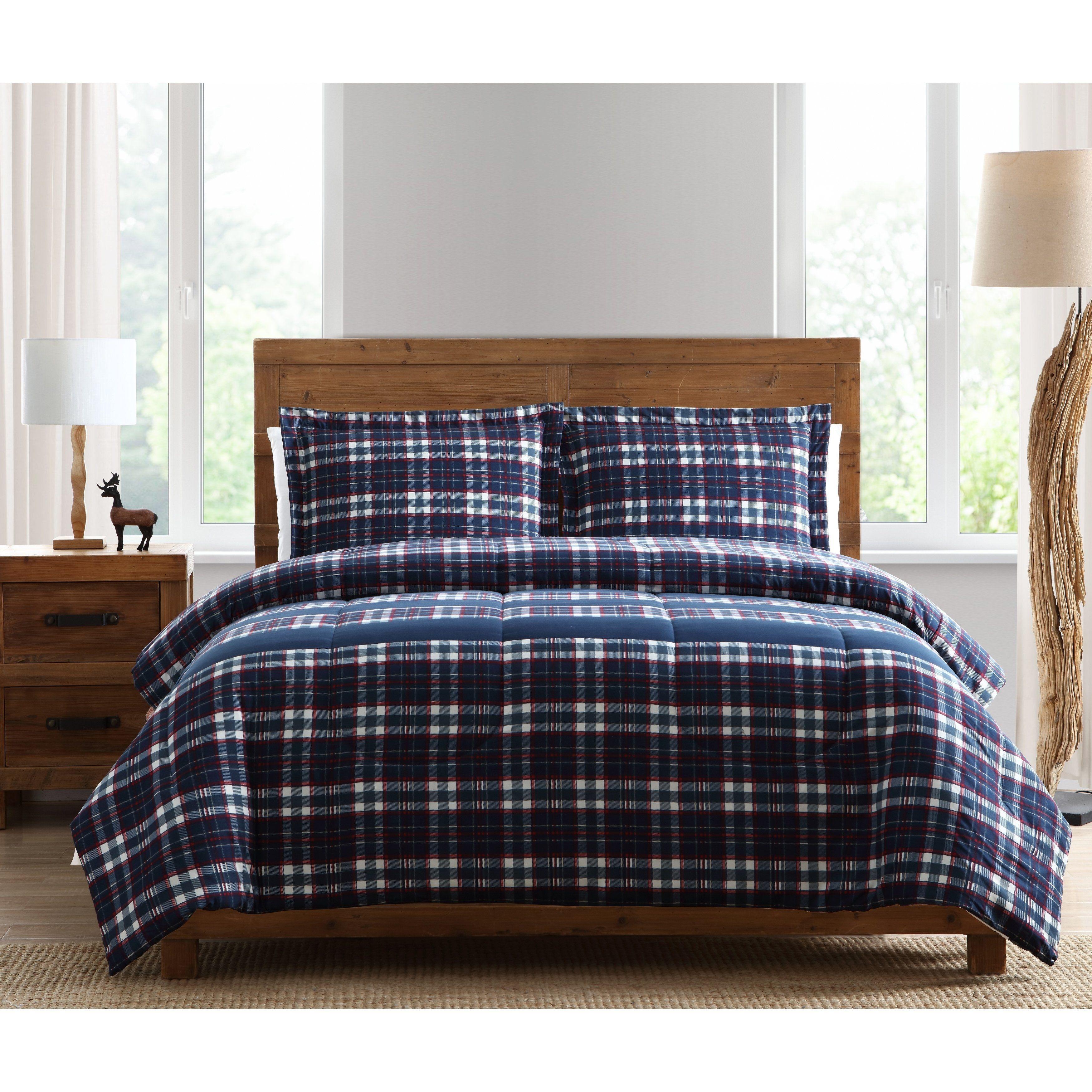 3 Piece Plaid Comforter Set Full Queen Blue Polyester Plaid Comforter Comforter Sets Bed Linens Luxury