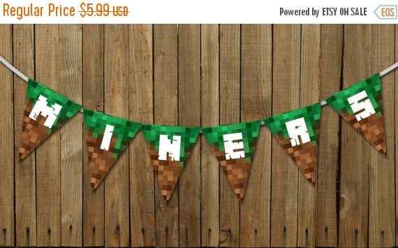 ON SALE Miner - A Minecraft Inspired Birthday Party Decoration Decor Banner Printable Diy Pdf by KennethQuadeDesigns on Etsy https://www.etsy.com/listing/211302146/on-sale-miner-a-minecraft-inspired