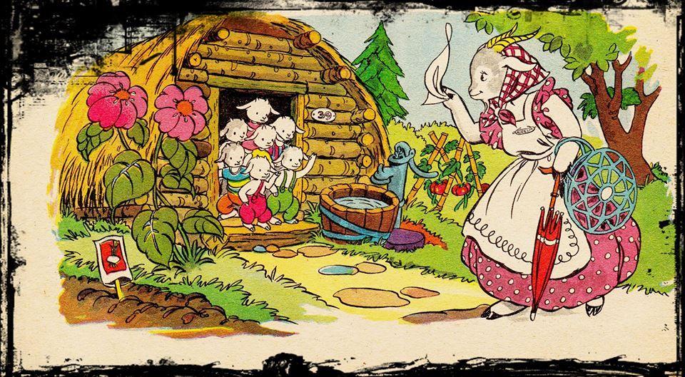 """Ilustración del libro de cuentos """"El lobo y los 7 cabritos""""."""