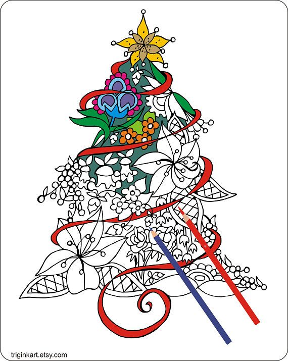 Christmas Tree Adult coloring page ETSY Pinterest Adult - new christmas tree xmas coloring pages