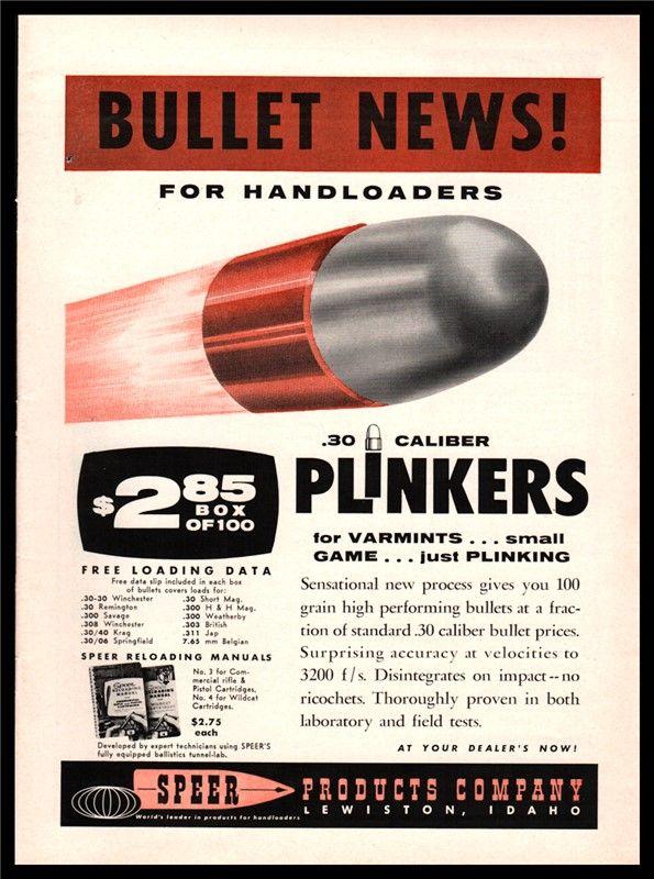 1961 SPEER Bullets Vintage Ammunition Plinking AD : Other