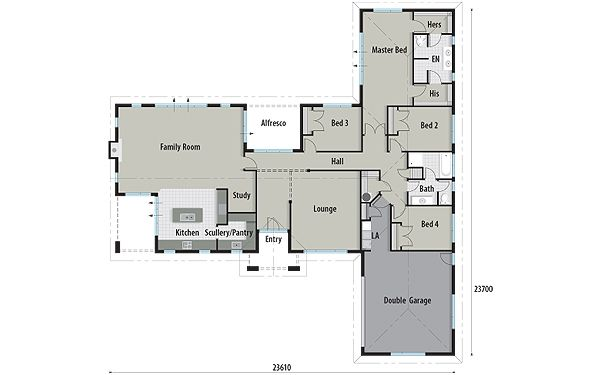Plano de casa moderna con forma de l de 3 dormitorios 2 for Planos de casas modernas de 3 dormitorios