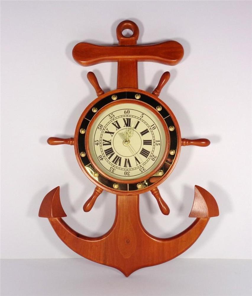 NAUTICAL SHIPS WHEEL CLOCK WITH SHIP ANCHOR MARITIME SAILING WALL CLOCK  ARTWORK