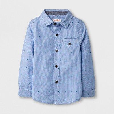 6b39b60765 Toddler Boys  Long Sleeve Button Down Shirt - Cat   Jack™ Blue Dot   Target
