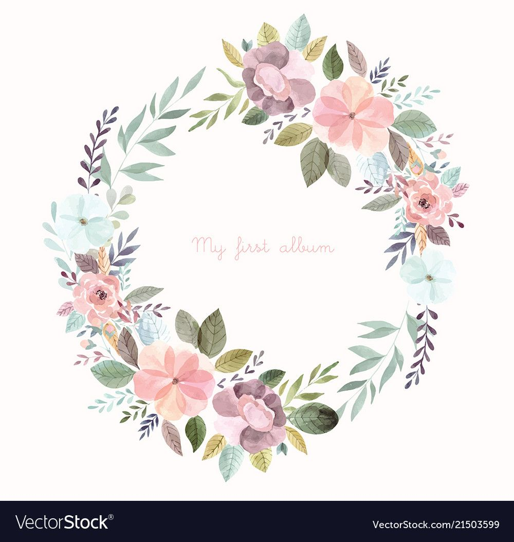 Watercolor With Floral Wreath Vector Image On In 2020 Floral
