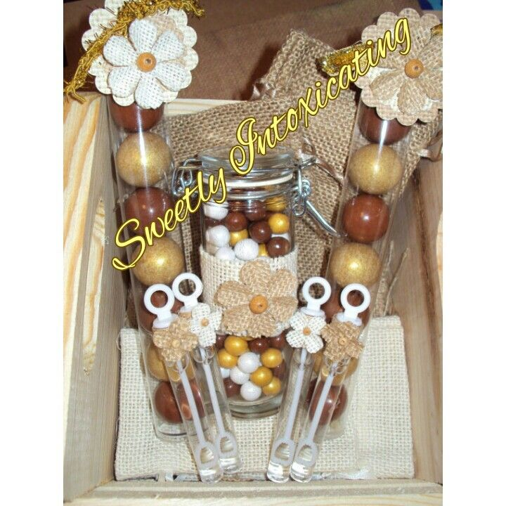 Rustic and Shabby chic wedding bubbles,  mini cylinder Mason jars and gumball favors with burlap fliwer accents. SweetlyIntoxicating@etsy.com