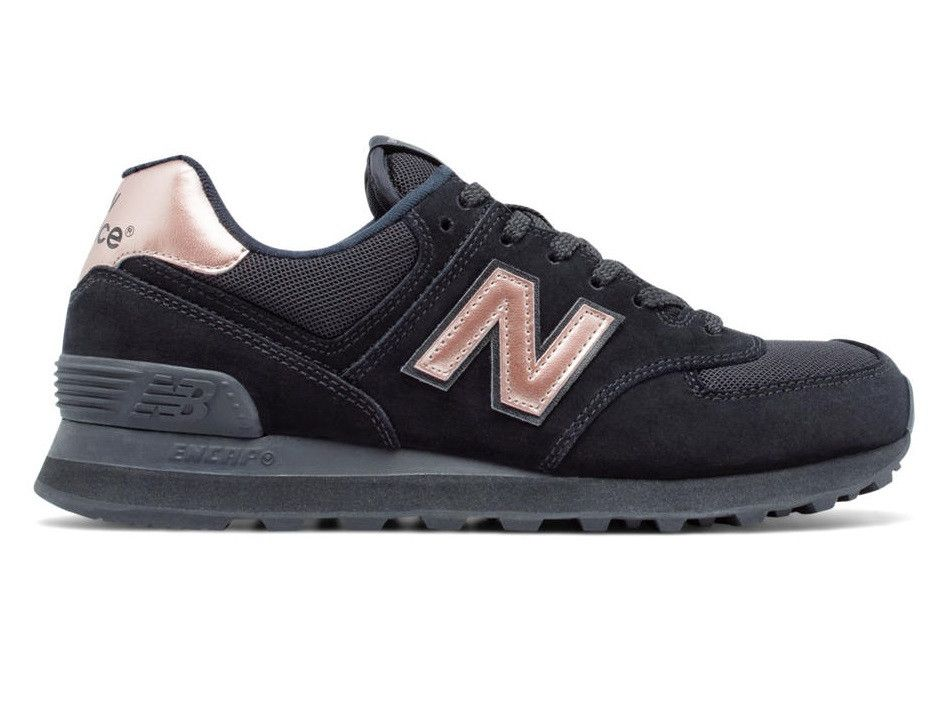 f382b0f279857 New Balance 574 Womens - Black   Rose Gold – West Brothers  newbalance   sneakers