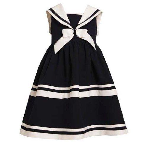 d42e032b6e54 Amazon.com: Bonnie Jean Girls 7-12 Navy Sailor raya blanca sin ...