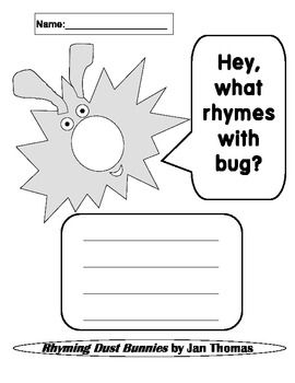 Rhyming Dust Bunnies Rhyming Worksheets Kindergarten 1st Grade
