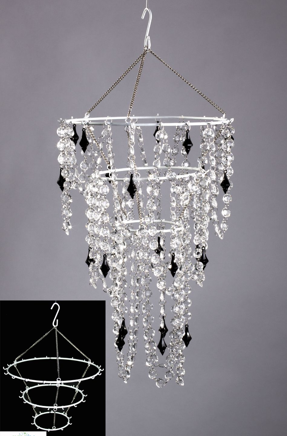 Create your very own chandelier decoration using our white metal create your very own chandelier decoration using our white metal frame just add your own aloadofball Images