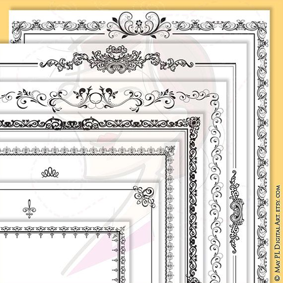 page borders frames black 8 x 11 rectangle digital frame decorative retro french ornate borders design