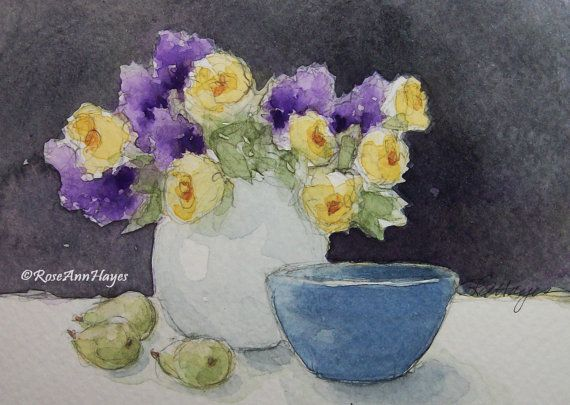 Yellow Roses and Lilacs Original Watercolor Painting Vintage Blue ...