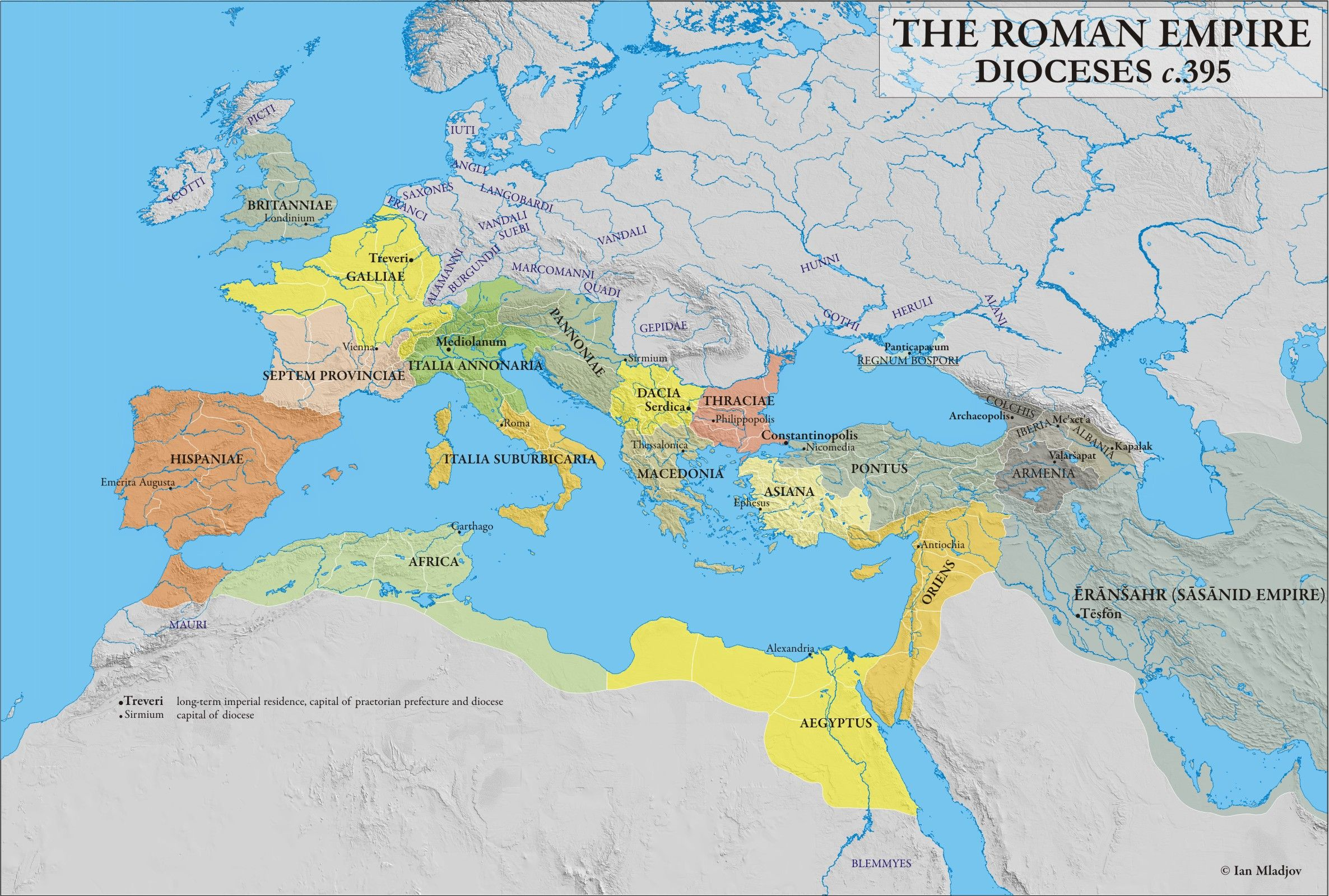 c. 395 CE) Dioceses of the Roman Empire | Maps, Charts, Graphs ...