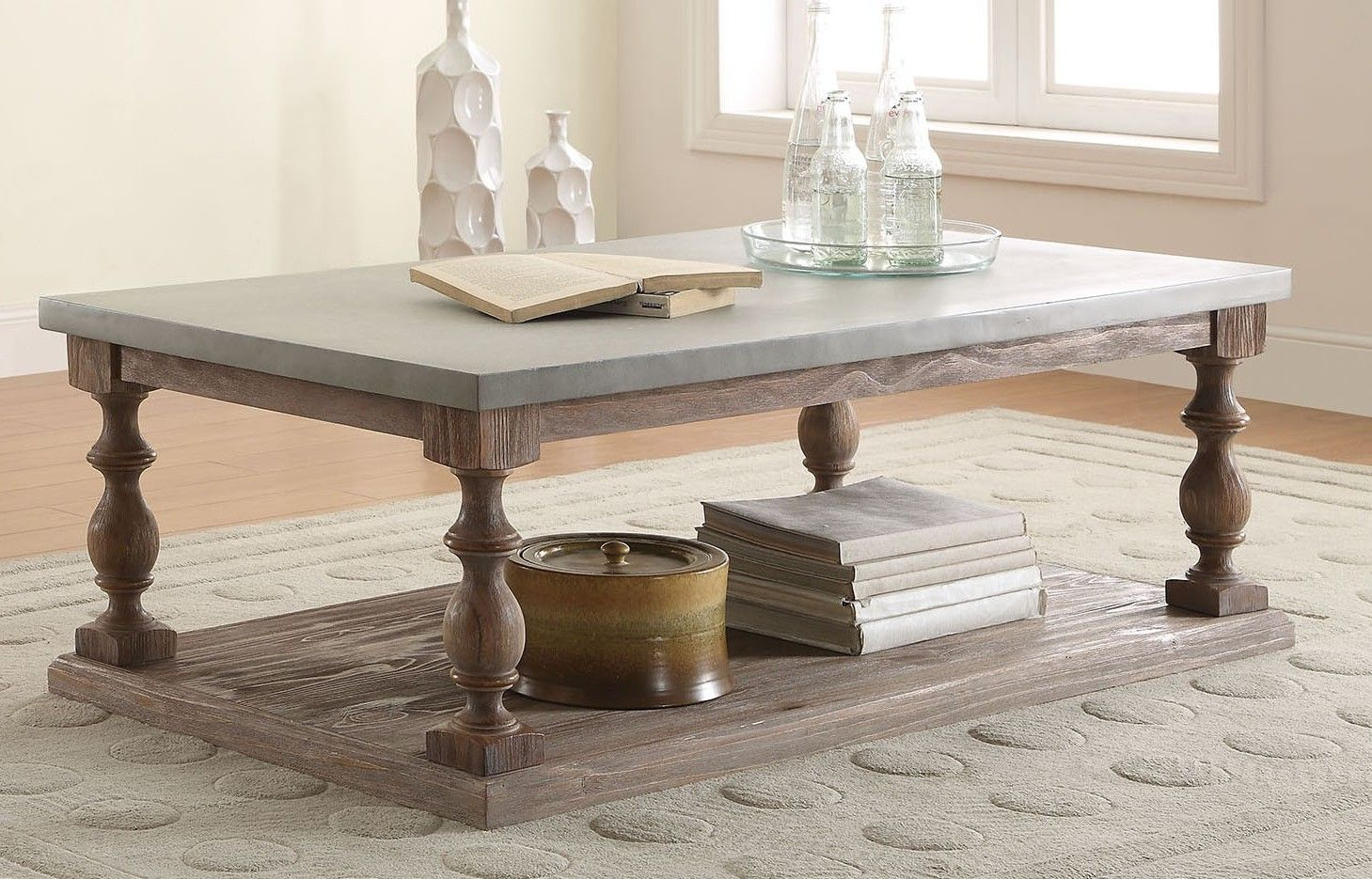 Leah Collection Salvage Oak Finish Wood And Concrete Gray Coffee Table