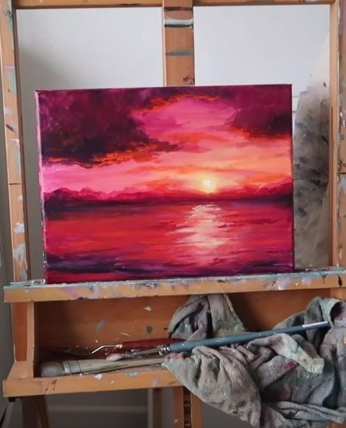 Anleitung zur Acrylmalerei bei Sonnenuntergang, # ...