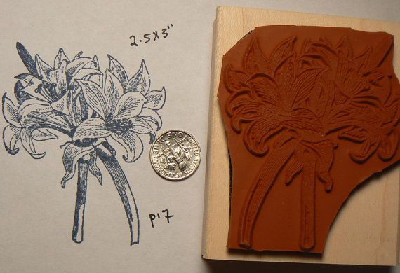 P17 Lily Flowers Bouquet Rubber Stamp
