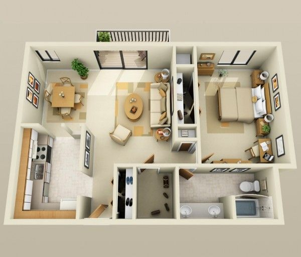 50 Plans en 3D d\u0027appartement avec 1 chambres 3d, Plans et Appartements