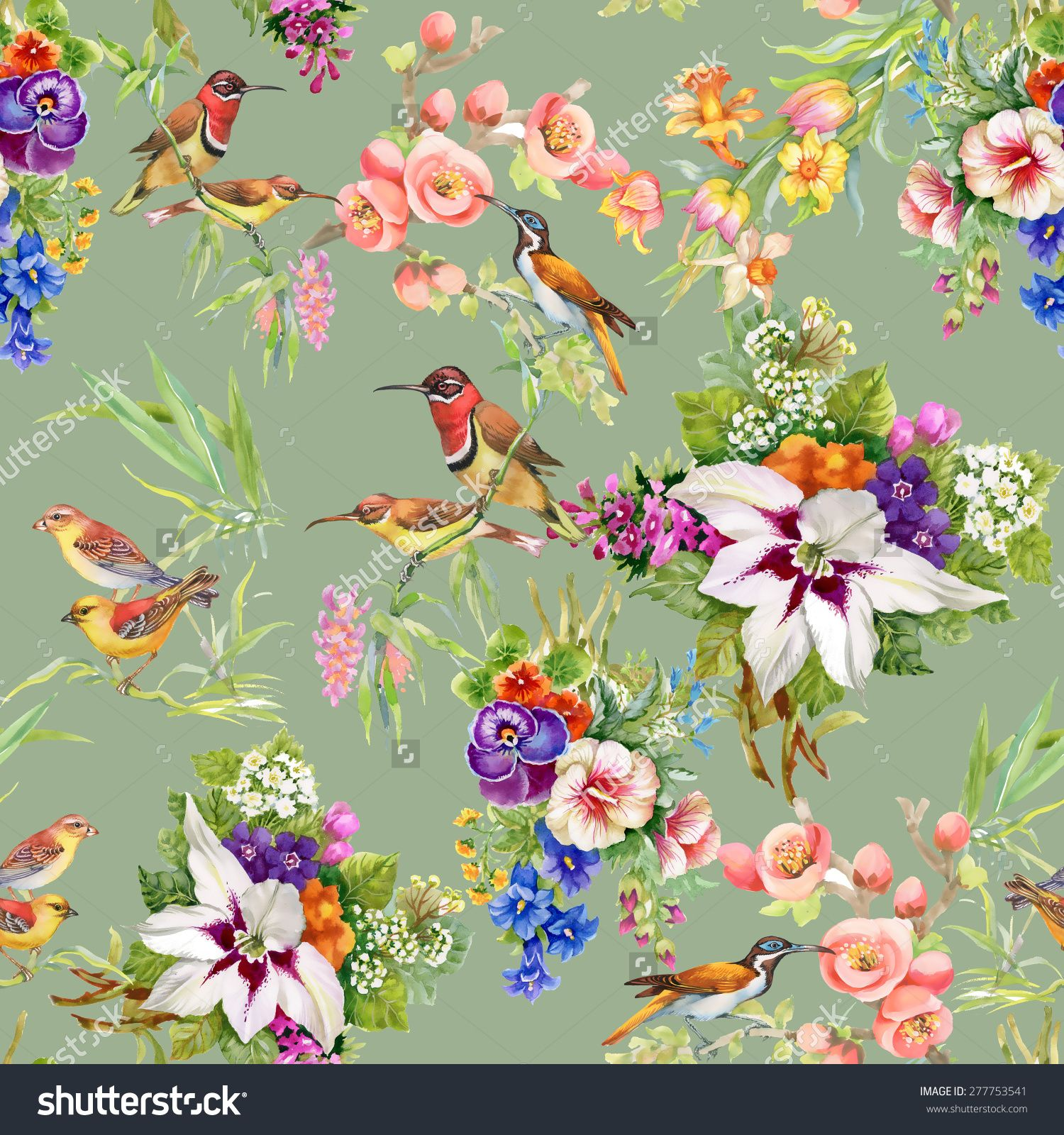 Watercolor Wild Exotic Birds On Flowers Seamless Pattern On Green