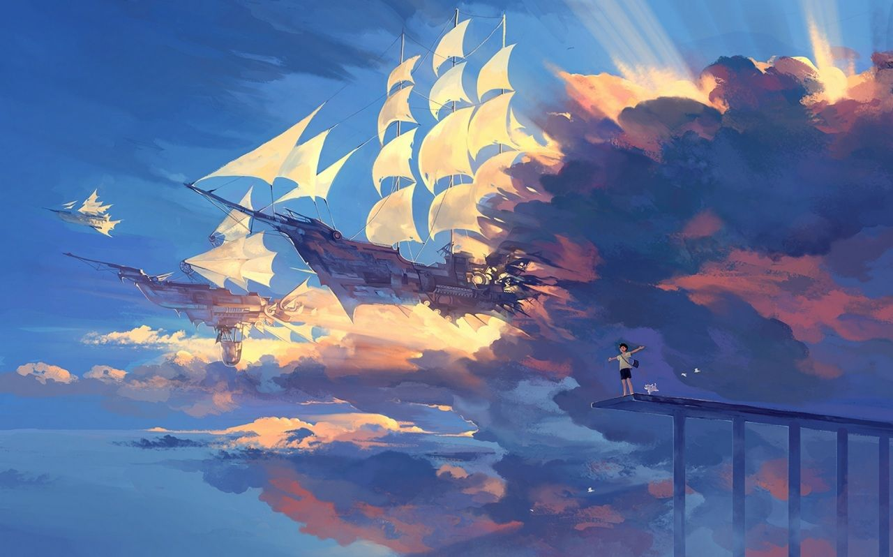 Ships Sailing Clouds Flight Hanyijie Anime Fantasy Anime Scenery Wallpaper Scenery Wallpaper Anime Scenery