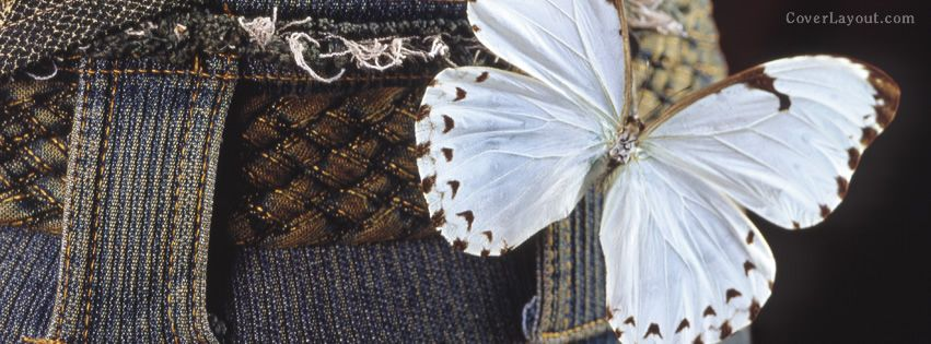 Book Cover White Jeans : White butterfly on blue jeans facebook cover coverlayout