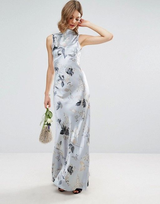 Asos Wedding 40s Seamed Maxi Dress In Silver Rose Print Dress Up