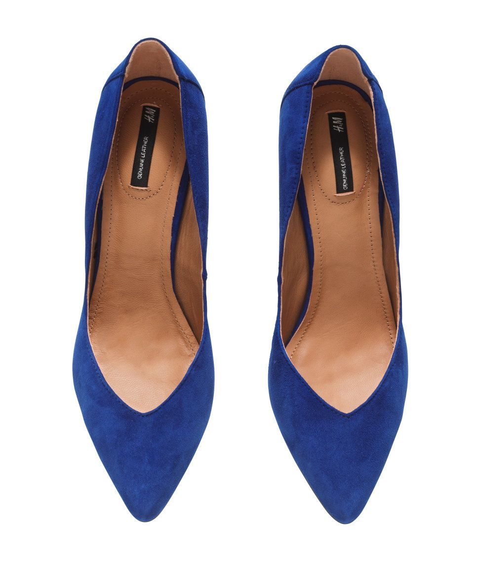 e639391e49 H&M Leather Court Shoes in Blue/Suede, £49.99.