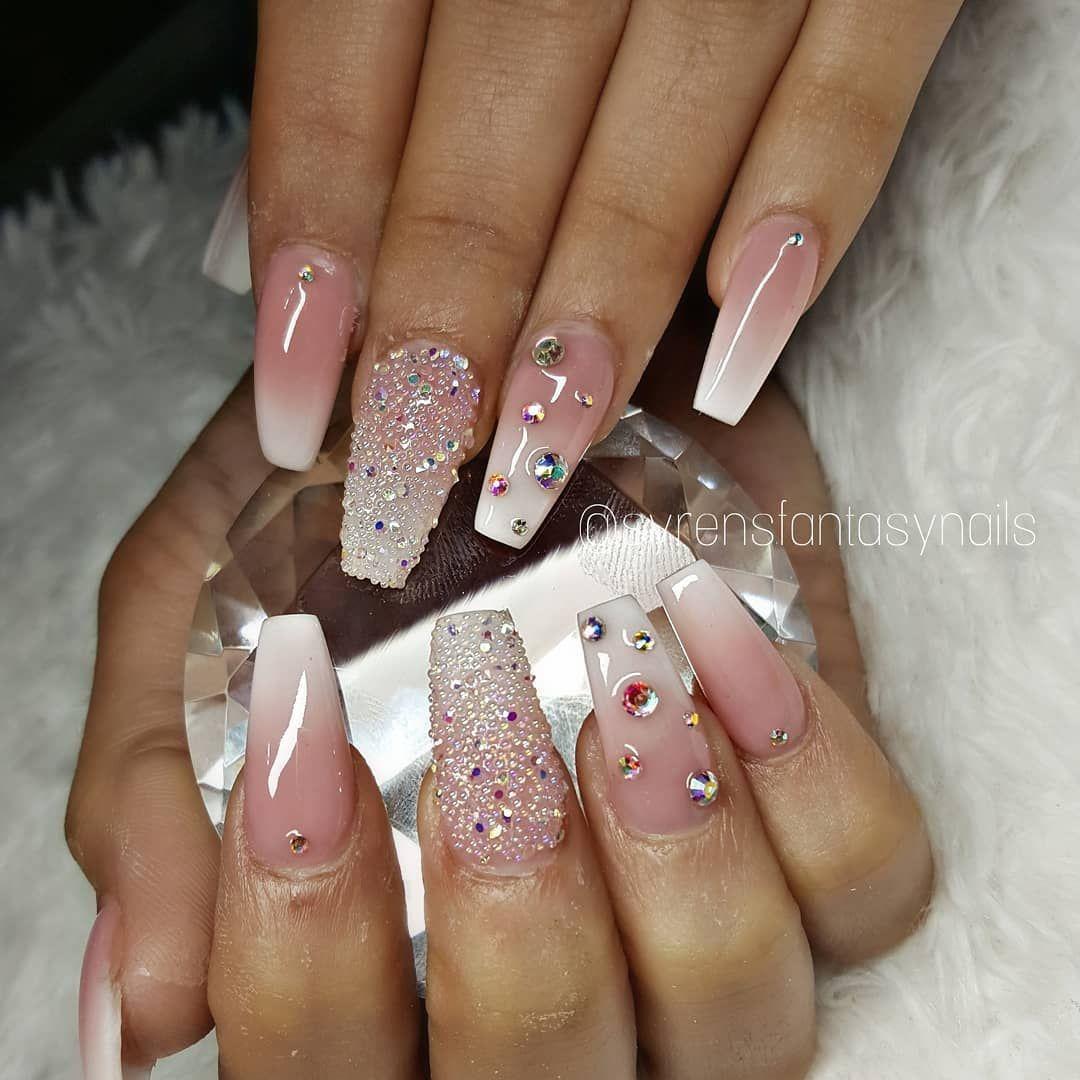 Pink White Babyboomer Ombre Rainbow Pixies Rhinestones Stones Acrylicnails Nailart Naildesign G Rhinestone Nails Ombre Nail Designs Baby Pink Nails