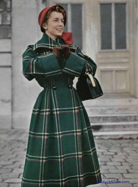 40s 50s Couture Allure Vintage Fashion green plaid coat color photo print ad model magazine princess waist hat gloves purse