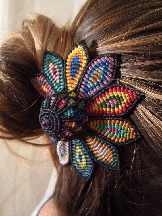 Large Hair Clip Flower  Multi  Coloured