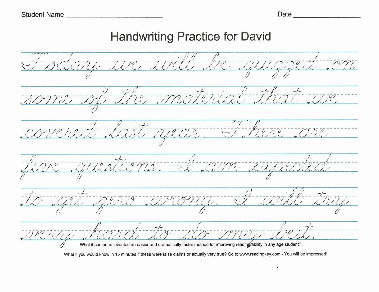 40 Cursive Writing Practice In