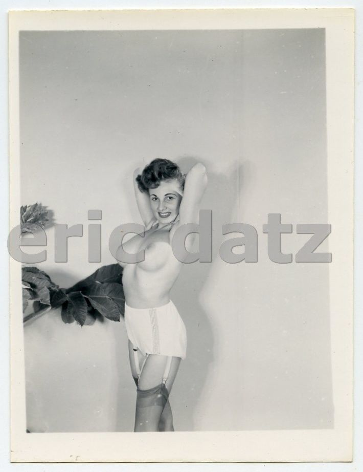 Original Vintage S Photo Buxom Nude Pin Up Girl Busty Brown X X