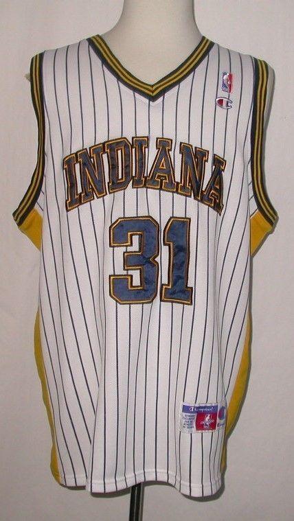 Vintage Rare Reggie Miller Indiana Pacers Champion Sewn Jersey sz 52 #eBay #itemoftheday