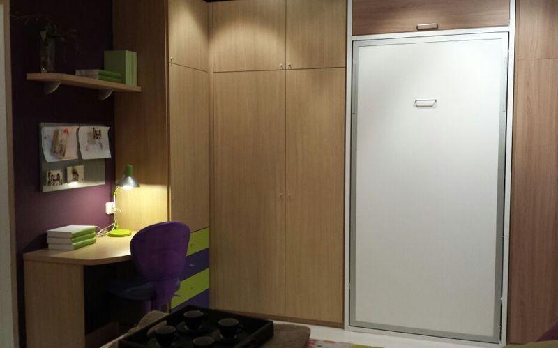 Habitaci n juvenil con espacio optimizado cama abatible - Fabricar cama abatible ...
