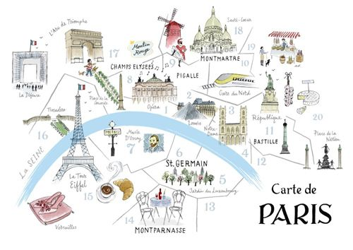 Illustrated Map Of Paris Paris Frankrig Og Fle