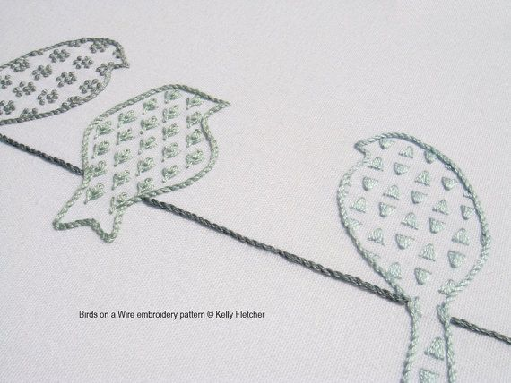 Birds On A Wire Modern Hand Embroidery Pattern Modern Embroidery