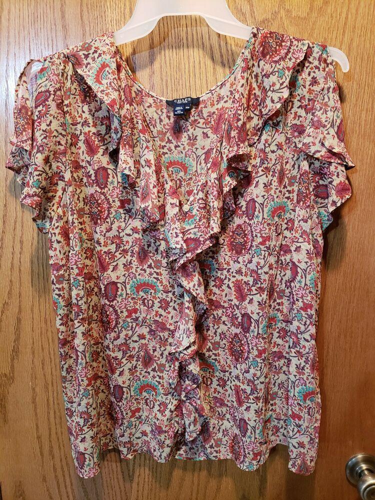 494aaf31114629 Chaps Red Floral Printed Short Sleve Button Down Blouse Womans Plus Size  22W #Chaps #Blouse